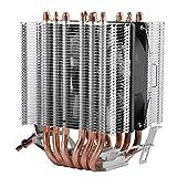 ASHATA Prozessorkühler CPU Kühler, Computer CPU Lüfter 6 Wärmeröhre Flüsterleiser Prozessorkühler,CPU Kühlkörper 48CFM PWM Lüfter CPU Kühler für Intel Lag1156 / 1155/1150/775 und AMD