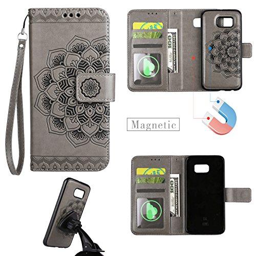 Samsung Galaxy S6 / G920 Hülle Leder Magnetisch Abnehmbar, Lomogo Schutzhülle Brieftasche mit Kartenfach Klappbar Magnetverschluss Stoßfest Kratzfest Handyhülle Case für Samsung Galaxy S6 - HOHA24147 Grau (Abnehmbarer Leder)