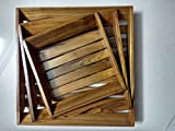 #10: D'Core Crafts Wooden Coffee Tray Set Of 3 ( Handcarved Coffee, Tea And Snacks Serving Trays ) - (18X10X4 Inches)