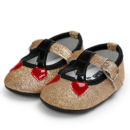 Saingace Krabbelschuhe,Baby Cherry Princess Soft Sole Shoes Toddler Sneakers Casual Shoes Gold