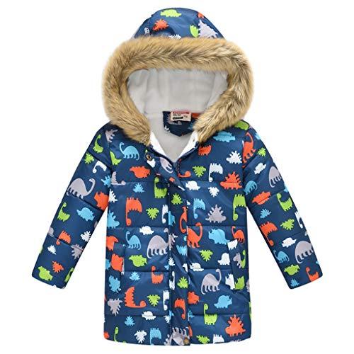 Binggong Jungen Wintermantel Dinosaurier Daunenjacke Daunenmantel Warme Plüschjacke Steppjacke mit Kapuze Winddicht SteppjackeTrenchcoat Outwear 110-150 (Ärmelloses Faux Wrap-top)