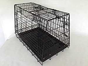 Double Sloping shaped dog car cage with 4 doors + divider