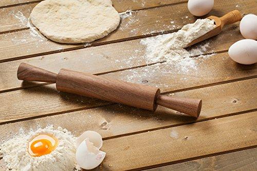 Kleine Vintage Walnuss Holz Rolling Pin mit Griffen, 36cm. Lang von Gourmet Rolling Pins