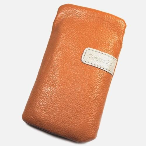 Schutzhülle, Weise Leder orange L für Samsung Chat S3350