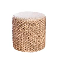 GAOCHRTD Rattan stool Leisure stool Round Stool Brown Sofa Stool Rattan Weaving Shoe Bench Home Living Room Bedroom Straw Cushion (Color : Light brown, Size : 32X33cm)