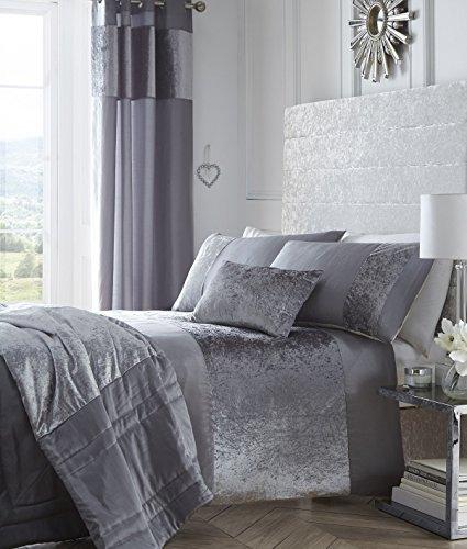 Boulevard Velvet Strip Eyelet Ring Top Curtains Fully Lined, Grey, 90 x 90-Inch