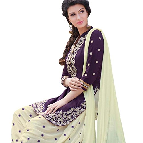 Purple And Off White Color Cotton Embroidered Patiala Suit