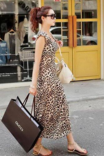 EOZY 1 Pc Longue Robe de Plage été Leopard Femme Fille Casuel Vacance Léopard