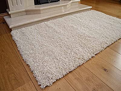 Soft Touch Shaggy Ivory Cream Thick Luxurious Soft 5cm Dense Pile Rug. Available in 7 Sizes produced by Rugs Supermarket - quick delivery from UK.