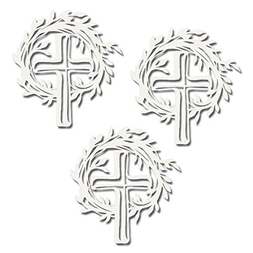 Artoz Laser-Cut Bastelzubehör | Kranz mit Kreuz | 1 Blister (3 Stk.) | fein ausgelaserte Papier-Applikationen | Ideal zum Basteln von Einladungskarten für Kommunion Konfirmation Taufe Hochzeit