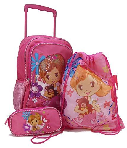 STEFANO Trolley Kindertrolley Kinderreisetasche Kinderkoffer pink rosa (3 TLG. Set)