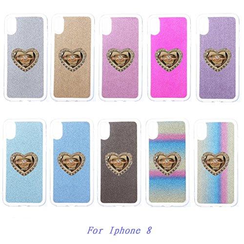 CaseforYou Hülle iphone X Schutz Gehäuse Hülse Soft TPU Slim Glitter Back Case Cover with Heart Pendent Ring Grip Stand Holder Schutzhülle für iphone X Handy (Purple) Silver