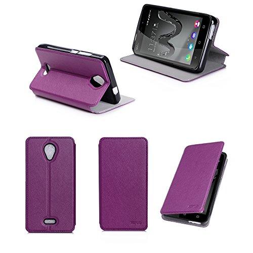 Wiko Freddy 4G Tasche Leder Hülle lila violett Cover mit Stand - Zubehör Etui Wiko Freddy Dual Sim Flip Case Schutzhülle (PU Leder, Handytasche Purple) - XEPTIO accessories