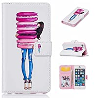 KKEIKO® iPhone 5s 5 SE Case [Free Tempered Glass Screen Protector], Premium Flip Leather Case for Apple iPhone 5 / iPhone 5s / iPhone SE, iPhone 5s 5 SE Wallet Cover Case with Card Slots, Magnetic Closure and Stand (Girl)
