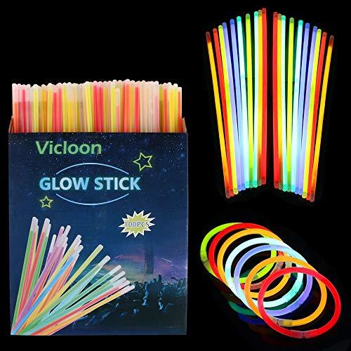 Imagen de vicloon barras luminosas, pulseras luminosas con conectores, kits para crear pulseras y collares, carnaval festividad fiestas disfraces. 100pcs