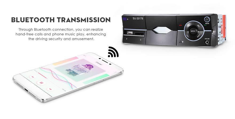Bluetooth-Autoradio-mit-Smartphone-Halter-Freisprecheinrichtung-eingebautes-Mikrofon-USB-Anschluss-fr-MP3-iPhone-Android-AUX-Anschluss-SD-MMC-Kartenleser-UKWFM-Radio-Audio-Receiver