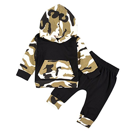 Brightup Baby Junge Camouflage Hoodie Tops + Lange Hosen Outfits Set Kleidung 0-3 Jahre