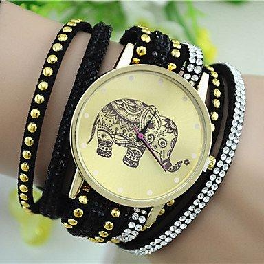 Relojes Hermosos, Reloj pulsera patrón de remaches de diamantes de imitación de la moda del elefante del estilo europeo de las mujeres ( Color : Negro )