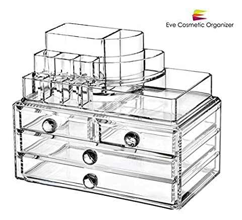 Eve Cosmetic Organizer™ ✔ Transparent ✔ Acrylic Jewelry & Cosmetic Organizer 2 PCS SET ✔ Unique Design Holds Cosmetics and Brushes ✔ Save Time in the Morning and Space in Your Purse ✔ Keep Your Beauty Products Organized -