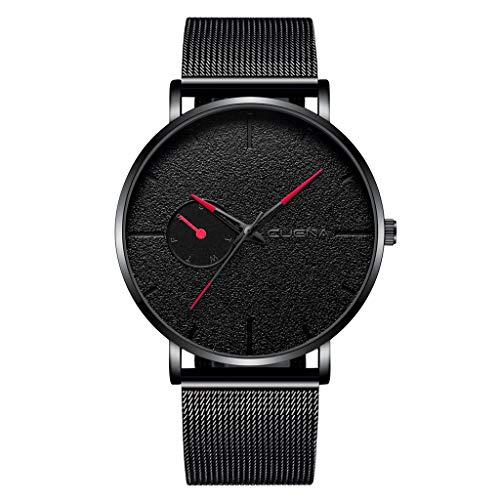 Holeider Luxus Uhr Herren, Armbanduhr Herren Analoger Quarz Fashion Edelstahl Mesh Armband Uhren Herren Schwarz ühr fur Herren (B)