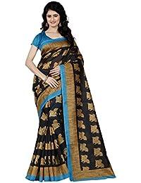 Aaradhya Fashion Women's Bhagalpuri Kalamkari Printed Saree With Blouse Piece (Black)