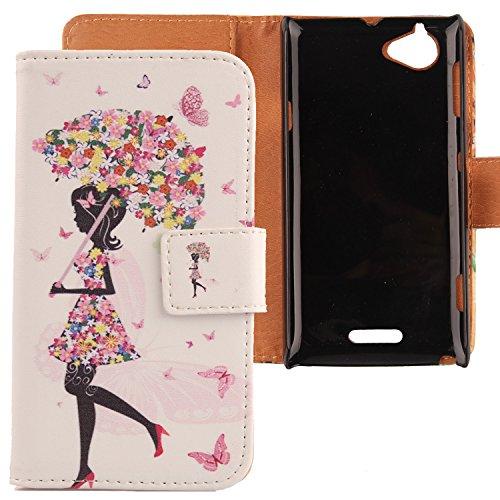 Lankashi PU Flip Leder Tasche Hülle Case Cover Schutz Handy Etui Skin Für Sony Xperia L S36h Umbrella Girl Design