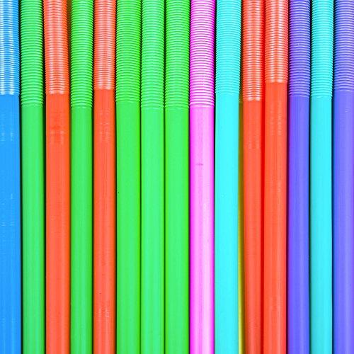 Jumbo Multicolore Plastique Souple pailles jetables–Idéal pour les enfants. 150