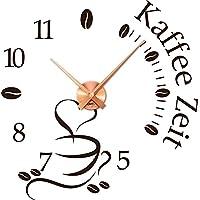Wandtattoo Uhr mit Uhrwerk Wanduhr Küche Kaffee Zeit Kaffeetasse Kaffeebohnen (Uhr Kupfer//080 Braun)