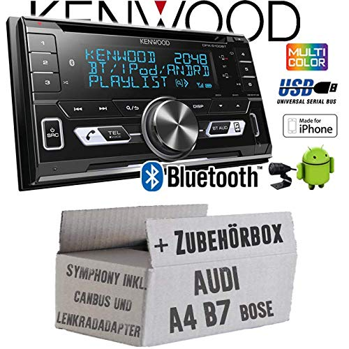 Audi A4 B7 inkl. CanBus Lenkradfernbedienung Symphony Bose 2DIN - Autoradio Radio Kenwood DPX-5100BT - 2-DIN Bluetooth USB Apple Android Autoradio PKW KFZ Paket - Einbauzubehör - Einbauset