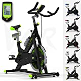 RevXtreme Indoor Aerobic Exercise Bike / Cycle Fitness Cardio Workout Machine - 22KG Flywheel (Green)