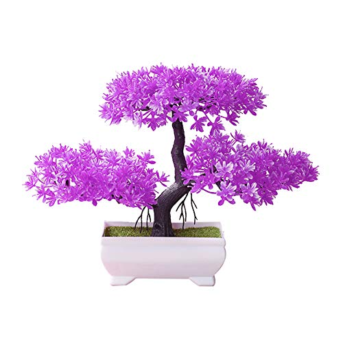 Steellwingsf Accogliente Pino Bonsai Simulazione Artificiale Vaso pianta Ornamento Home Decor scrivania Ornamento Rose Red