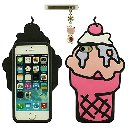 Apple iPhone 5 5S 5C / iPhone SE Hülle Case Hübsch Frucht Eiscreme 3D Gestalten Weich Silikon Kunststoff Handyhülle mit 1 Metall Anhänger rosa