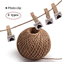 TUANMEIFADONGJI Photo Clip 100Pcs Mini Wooden Clips With Jute Twine String Set Photos Christmas Card Holder Gardening Twine String For Handmade DIY Decorations