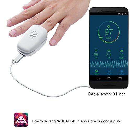 Aupalla Smart Fingerspitze Pulsoximeter für iPhone Android Handy funktioniert ohne AAA Akku oder wiederaufladbarem Lithiumionen-Akku, umweltfreundliche tragbar Blutsauerstoffsättigung Monitor