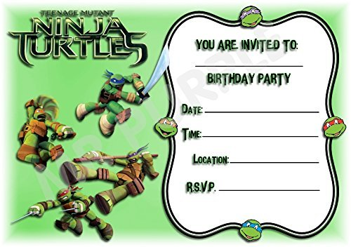 Superhero Teenage Mutant Ninja Turtles Geburtstag Party lädt - Fighting Design - Deko/Zubehör (12 Stück A5 Einladungen) WITHOUT Envelopes (Tmnt Geburtstag Einladungen)