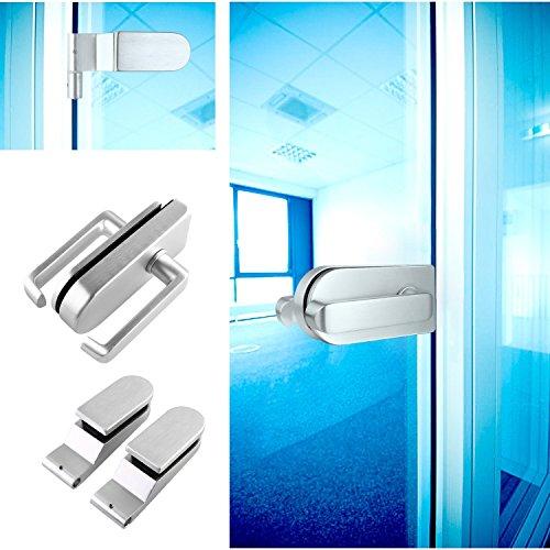 FEMOR Glastür Beschlag Set Ganzglastürbeschlag Glastürschloss Alu. mit Türdrücker & Türbänder - Beschlag für Glastür geeignet für die Tür(8-12mm dick)
