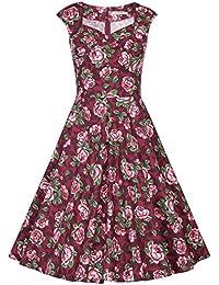 ce25582b8308f MUXXN Falda de Oscilación de Cóctel Manga Casquillo Cuello de Cariño Retro  1950s para Mujer
