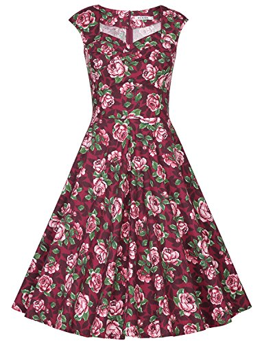 MUXXN Damen Retro 1950er Kleider Swing Kleid Vintage Rockabilly Kleid Partykleid Cocktailkleid(L, Burgundy Rose)
