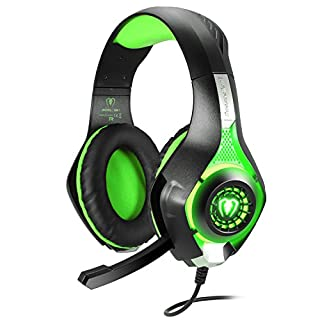 BlueFire Gaming Headset for PS4 Xbox One, Upgraded 3.5mm Wired Bass Stereo with Mic LED Light for PS4 / Xbox One S/Xbox One/Nintendo Switch/PC/Computer/Phones (Green in Black)