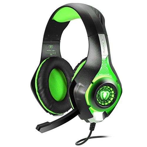 Samoleus Cuffia da Gioco per PS4 con Microfono, 3,5MM LED Light Stereo Cuffie Surround Cuffie Oltre l'Orecchio per PS4 PC Xbox One (verde)