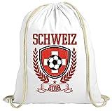 ShirtStreet Swiss Fußball WM Fanfest Gruppen Fan natur Turnbeutel Rucksack Gymsac Pokal Schweiz 2018, Größe: onesize,weiß natur