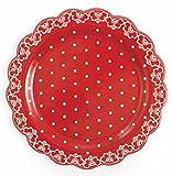 Galileo Casa Crochet Piatto da Panettone O Portata, Ceramica, Rosso/Bianco, 30x30x3 cm