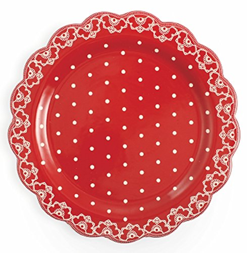 Galileo Casa Crochet Plat à panettone ou portée, céramique, Rouge/Blanc, 30 x 30 x 3 cm