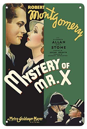 JIA KOAH Mystery of Mr. X Starring Robert Montgomery,Elizabeth Allan Zinn Wand Zeichen Retro Plaque Hof Vintage Metall Kunstwerk Poster Dekoration Souvenir Fender Metallschild