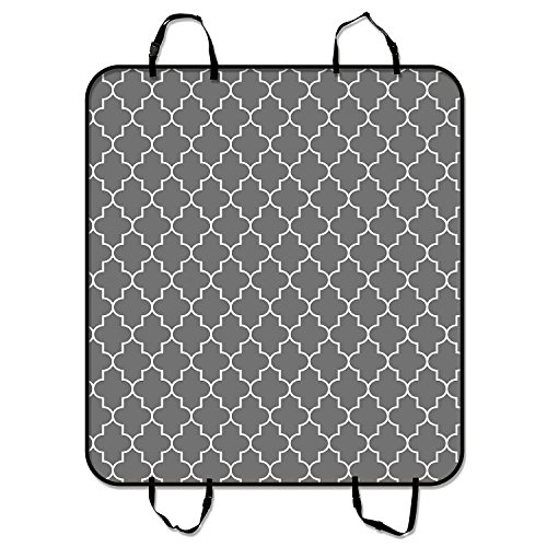 Custom Classic Grey and White Quatrefoil Pet Seat Cover Car Seat Cover for Pets Cargo Mats and Hammocks for Cars Trucks and SUVs 54x60 inches