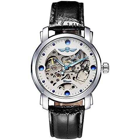 downj da uomo meccanico automatico orologi cinturino in pelle nero blu strass orologi (Yankees Strass)