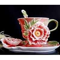Smkf Collectable fine Arts China Porcelain Coffee tazza e piattino Coffee Cup Flower Theme Romantic creative present Red