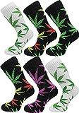 6 Paar Hanf Socken mit Weed Blätter Muster Größe 43/46