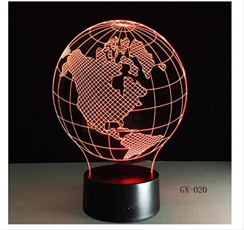 Wanjuna Luz Nocturna 3D Usa Earth Map Light Lámpara Led 3D Con Imágenes De...
