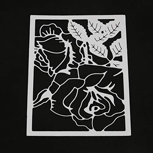 WOZOW Scrapbooking Stanzschablone, Chinesischer Stil Papier Geschnitten Schneiden Prägeschablonen Fenstergitter Schablonen, Zubehör für Stanzmaschine (Zwei Rosen)